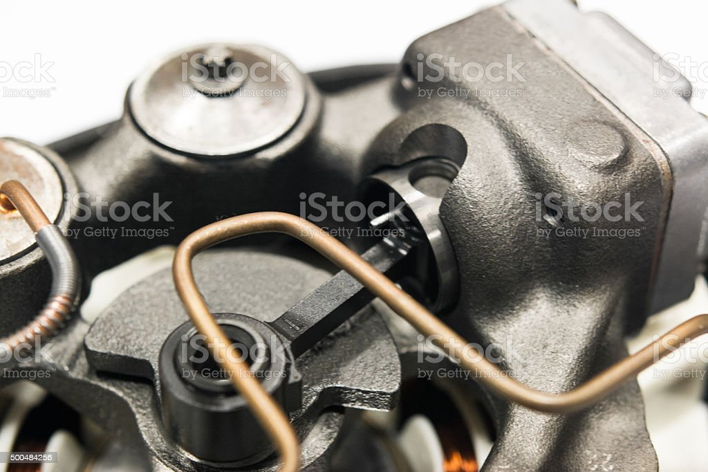 Permanent magnet compressor motor disassembled close-up stock photo