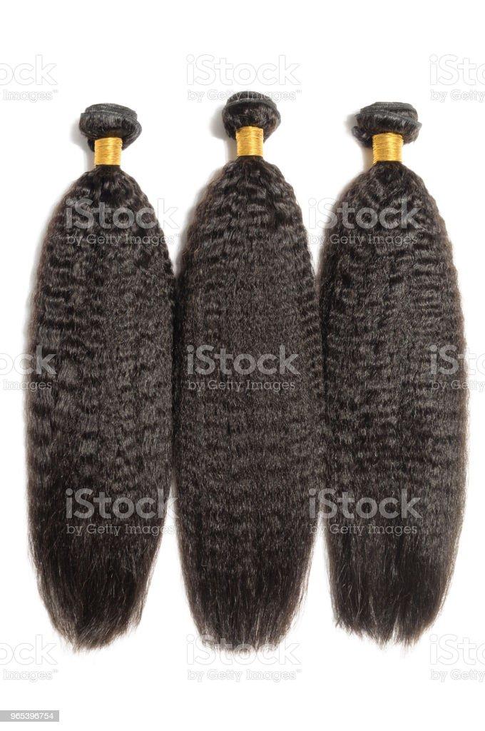permanentés crépus cheveux humains de grossier tout droit style afro noir tisse des faisceaux d'extensions - Photo de Beauté libre de droits