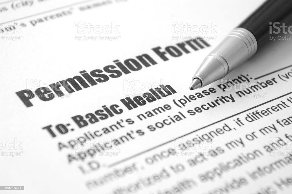 Permission Form royalty-free stock photo