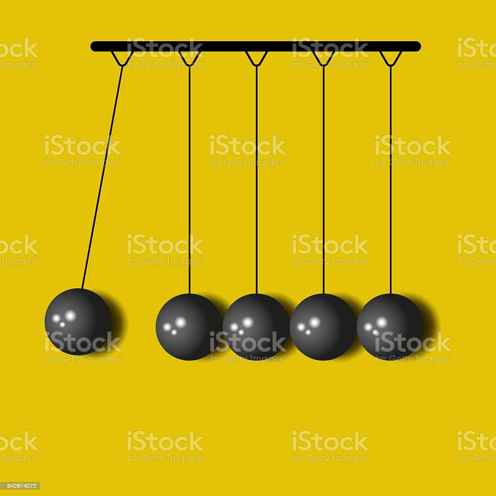 Perpetuum Mobile, balls Newton, yellow business background stock photo