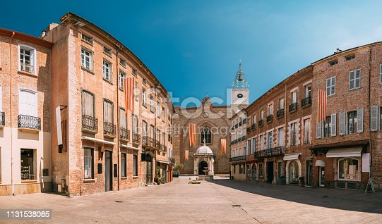 istock Perpignan, France. Leon Gambetta Square And Cathedral Basilica Of Saint John The Baptist Of Perpignan In Sunny Summer Day 1131538085
