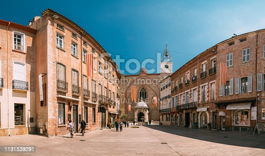 istock Perpignan, France. Leon Gambetta Square And Cathedral Basilica Of Saint John The Baptist Of Perpignan In Sunny Summer Day 1131539291