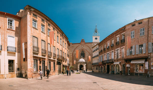 Perpignan, France. Leon Gambetta Square And Cathedral Basilica Of Saint John The Baptist Of Perpignan In Sunny Summer Day stock photo