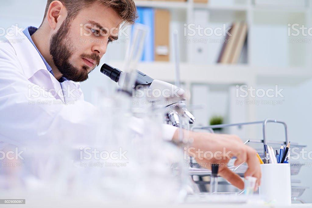 Perplexed scientist stock photo