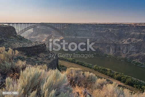 Perrine Bridge Spans The Canyon Above The Snake River just before sunset