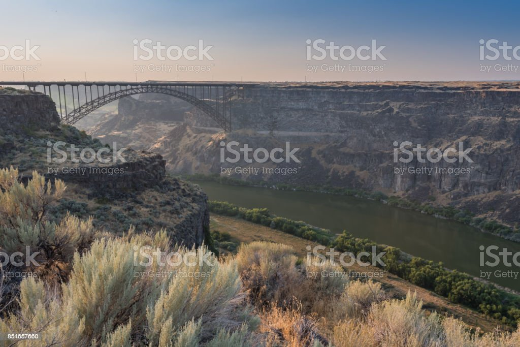 Perrine Bridge Spans The Canyon Above The Snake River stock photo