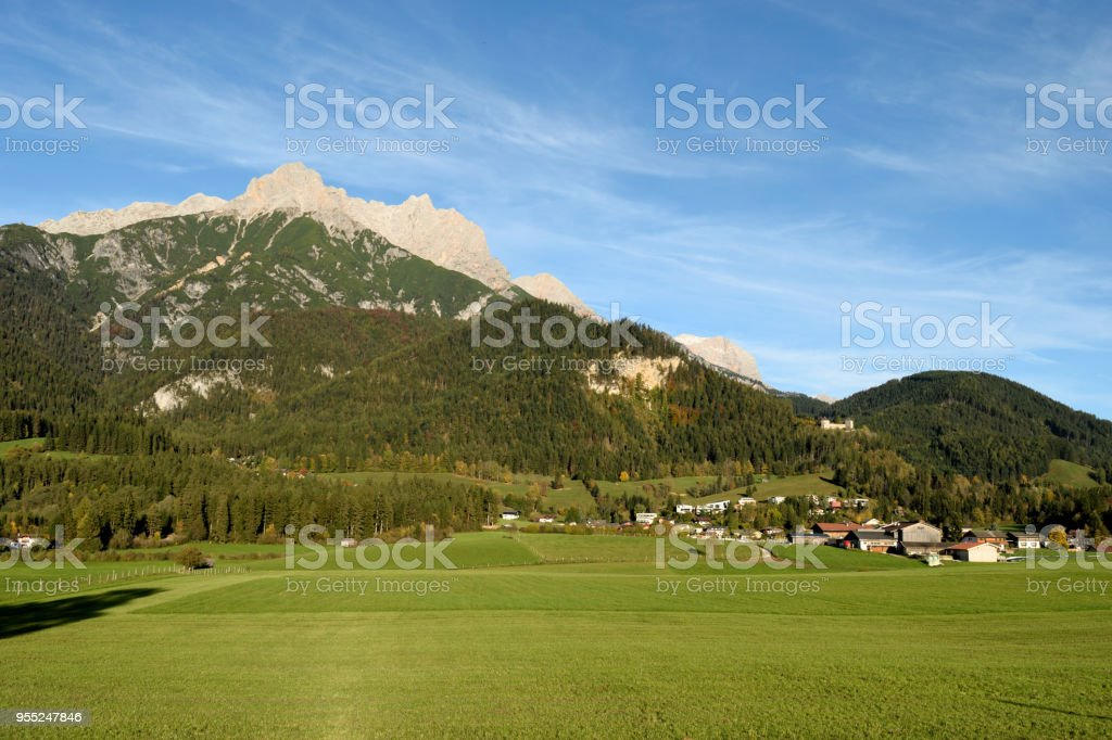 Persailhorn and Breithorn, 2  peaks at Steinernes Meer mountain range, above Bachwinkl near Saalfen, Pinzgau, Austria stock photo