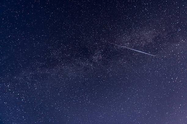 Perseid meteor crossing the sky