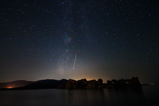 Perseid Meteor Shower And Stars Stock Photo - Download Image Now