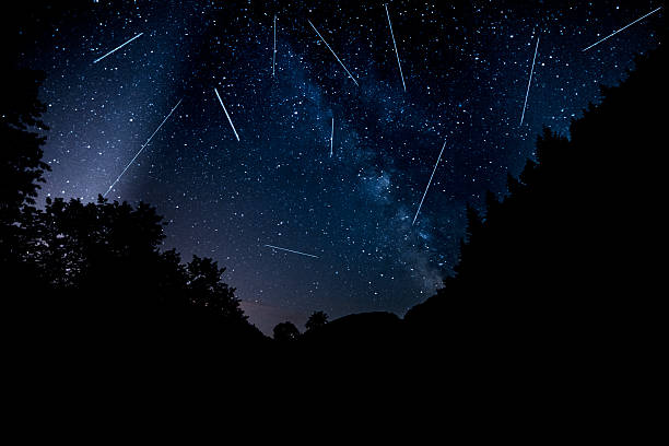 perseids in night time stock photo