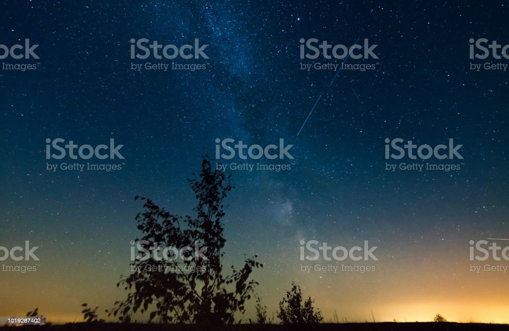 Perseids meteor shower at the time of the highest activity, long...