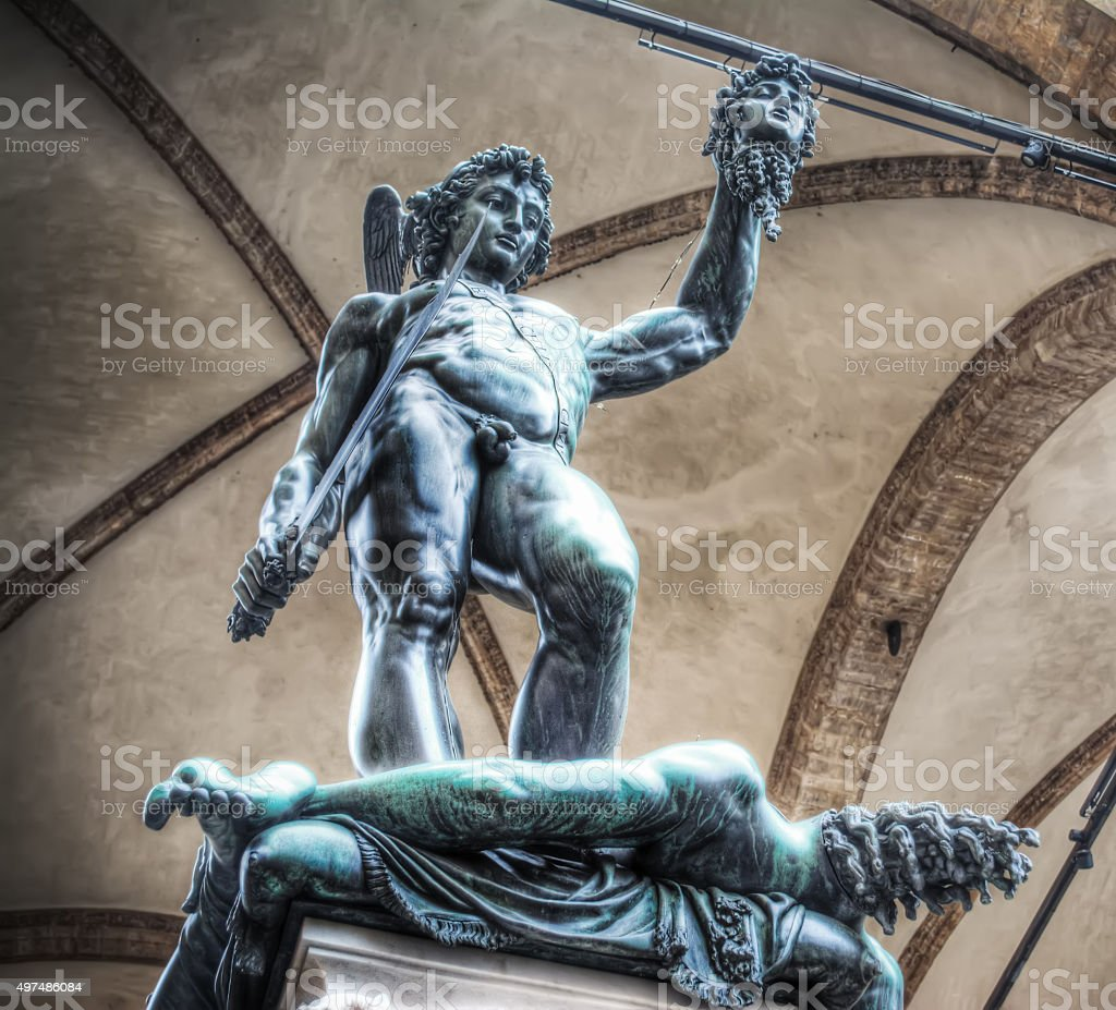 Perseo holding Medusa head statue stock photo