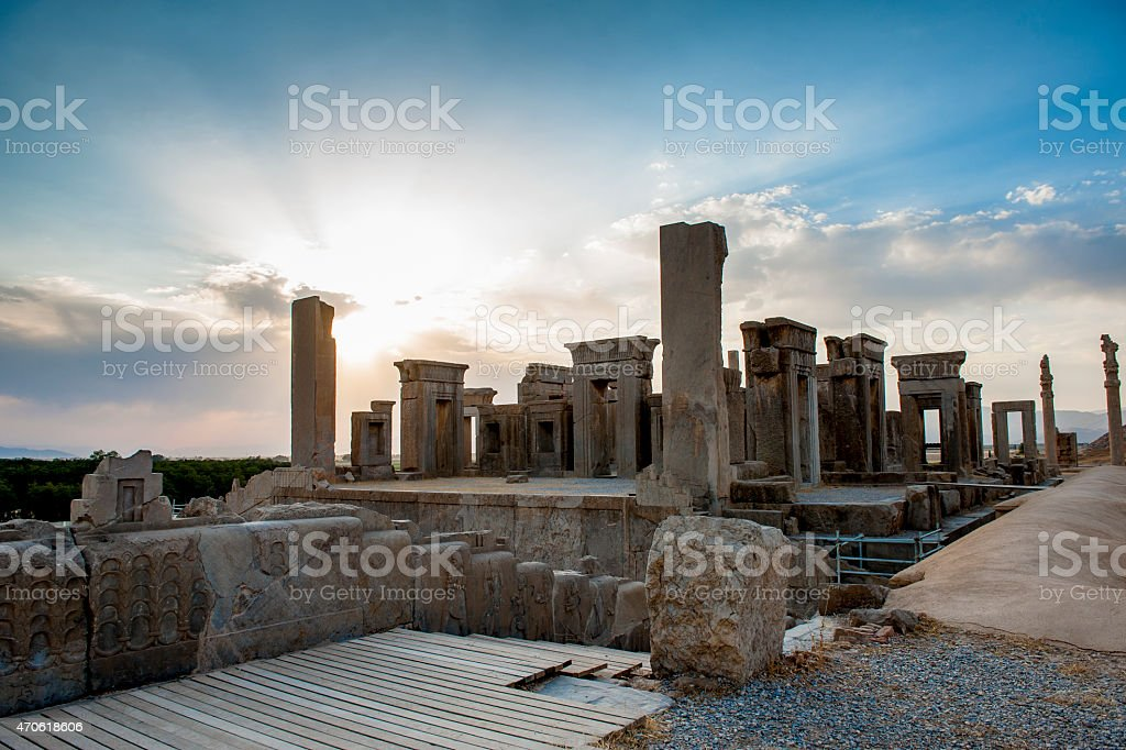 Persepolis at sunset moment, Iran stock photo