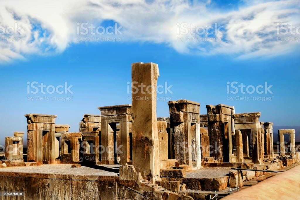 Persepolis Is The Capital Of The Ancient Achaemenid Kingdom Sight Of Iran Ancient Persia Blue Sky And Clouds Background Stock Photo Download Image Now Istock