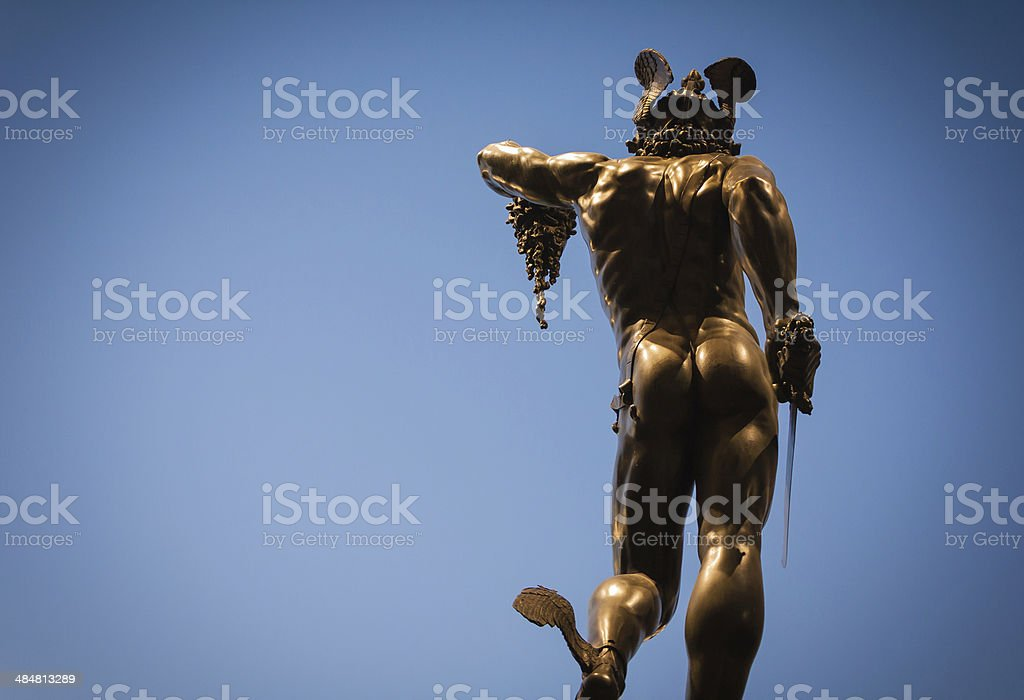 Perseus and Medusa next to the Palazzo Vecchio stock photo