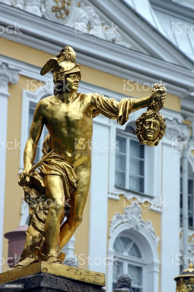 Perseus and Medusa Statue at Peterhof royalty-free stock photo