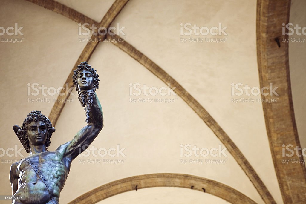Perseus Holding Medusa's Head stock photo
