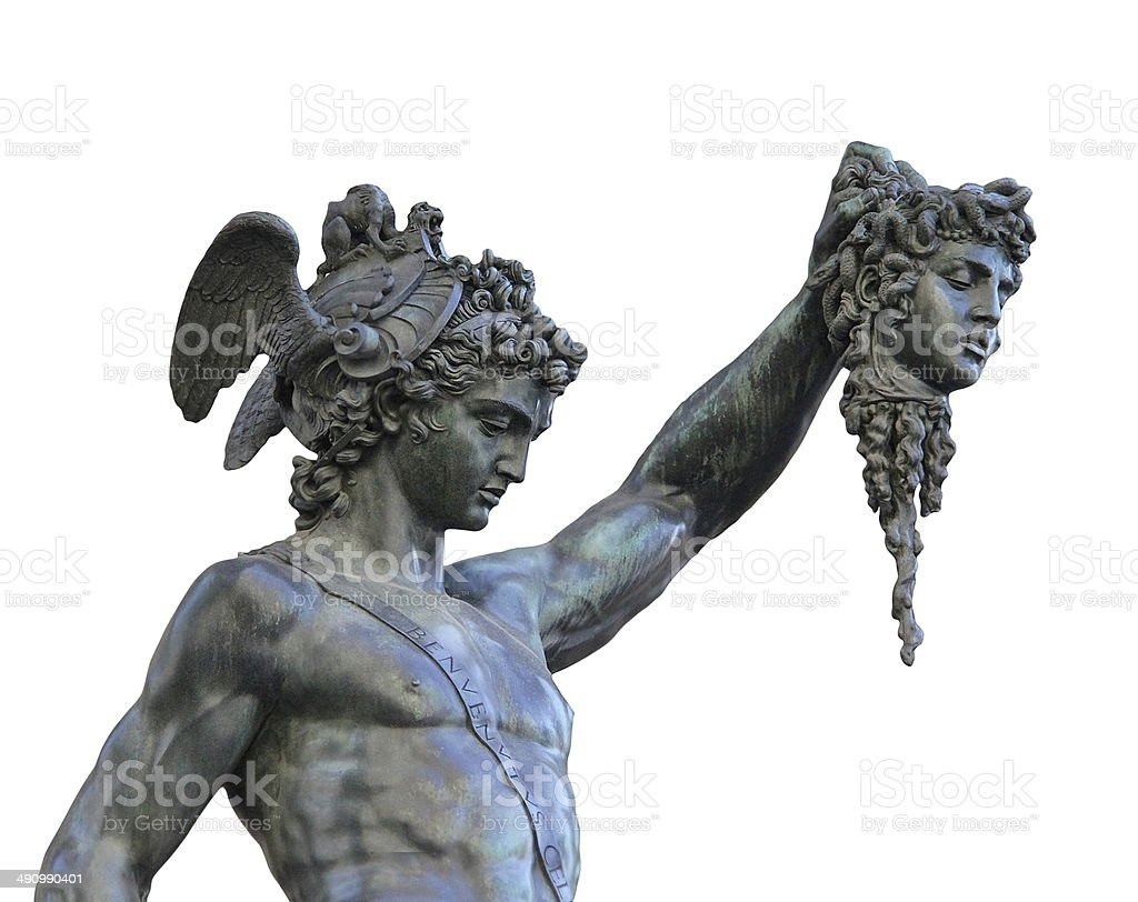 Perseus holding the head of Medusa on white background, stock photo