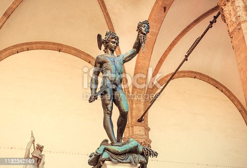 Perseus with the Head of Medusa, 16th century bronze sculpture by italian artist Benvenuto Cellini, Italy.