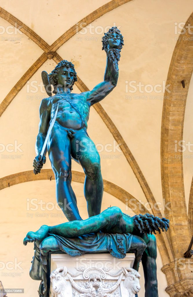 Perseus With The Head Of Medusa Bronze Sculpture Stock Photo