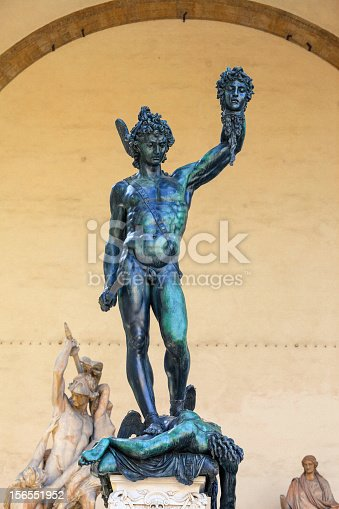 Statue of Perseus with the Head of Medusa. Florence, Italy. Film grain effect.