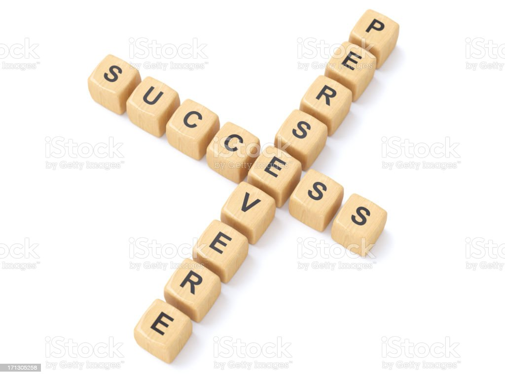 Persevere and success crosswords stock photo