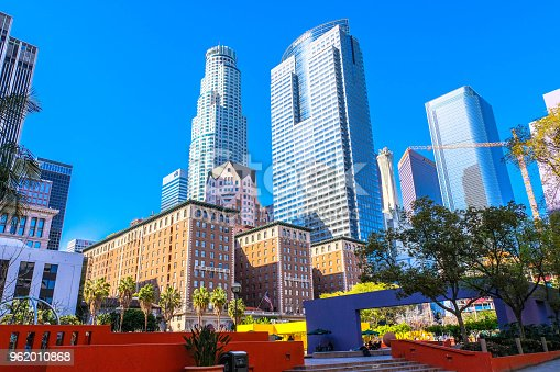 Pershing Square in Downtown Los Angeles. The Millenium Biltmore hotel is in the foreground (Brick buildings), US Bank tower in the back left.