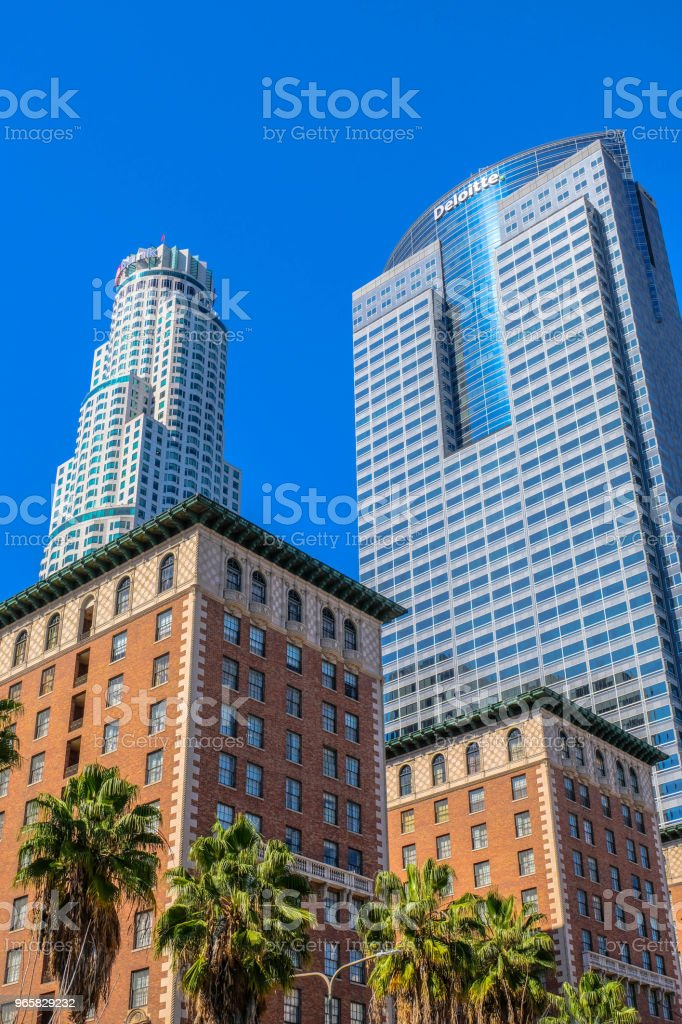 Pershing Square uitziende NW, Downtown Los Angeles - Royalty-free Architectuur Stockfoto