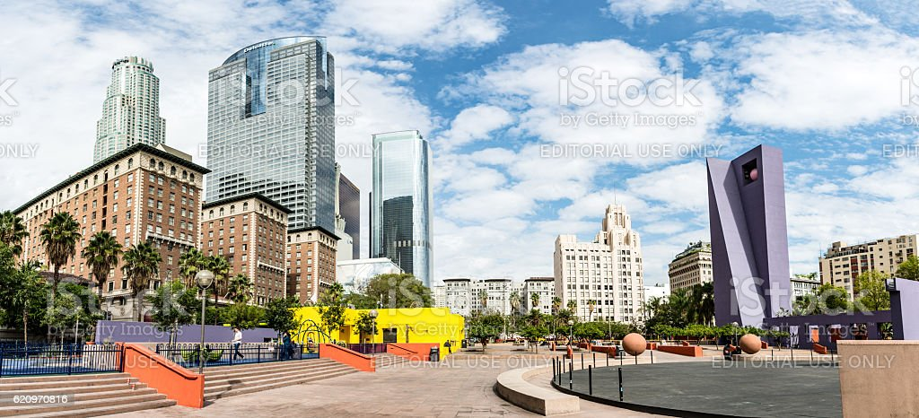Pershing Square Panorama in Los Angeles stock photo
