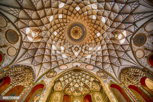 istock Persian architecture - fresco at ceiling, Iran 899233898