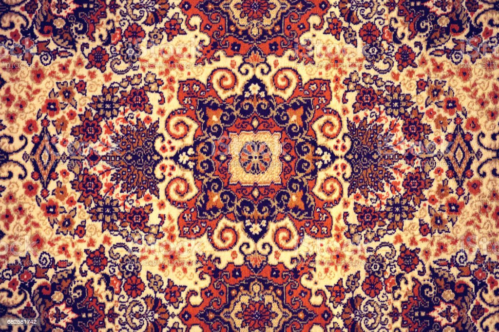 Persian Carpet Closeup Of National Popular Antique Oriental Backdrop Beautiful Artistic Texture Abstract Repeating Design Of Red Blue Flower On Yellow Color Style Background Wallpaper Texture Stock Photo Download Image Now