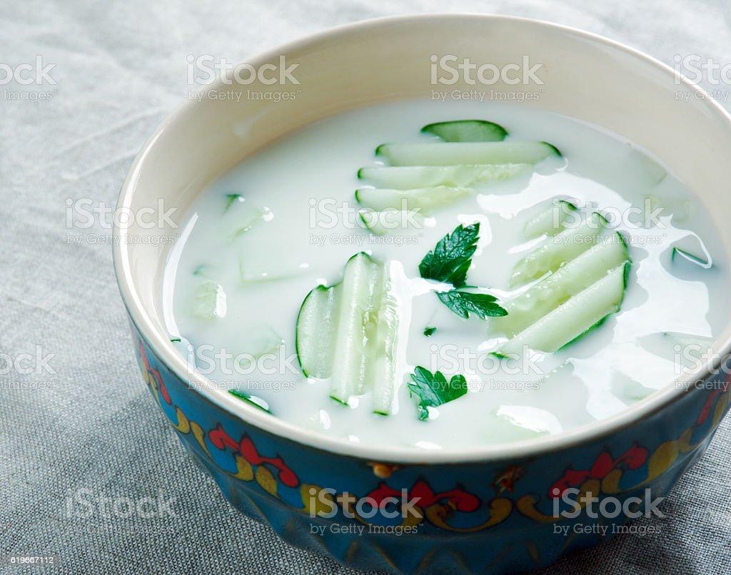 Persian Cucumber Yogurt stock photo