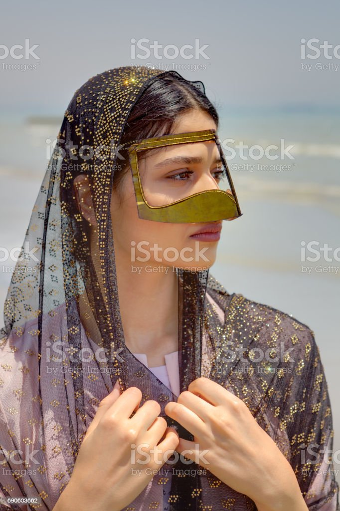 Persian Girl In Traditional Islamic Mask Of Southern Iran Portrait