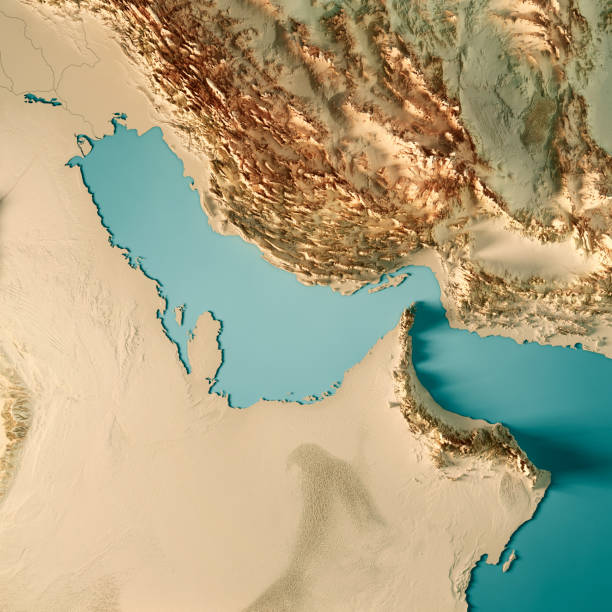 persian gulf 3d render topographic map color - saudi arabia map stock photos and pictures