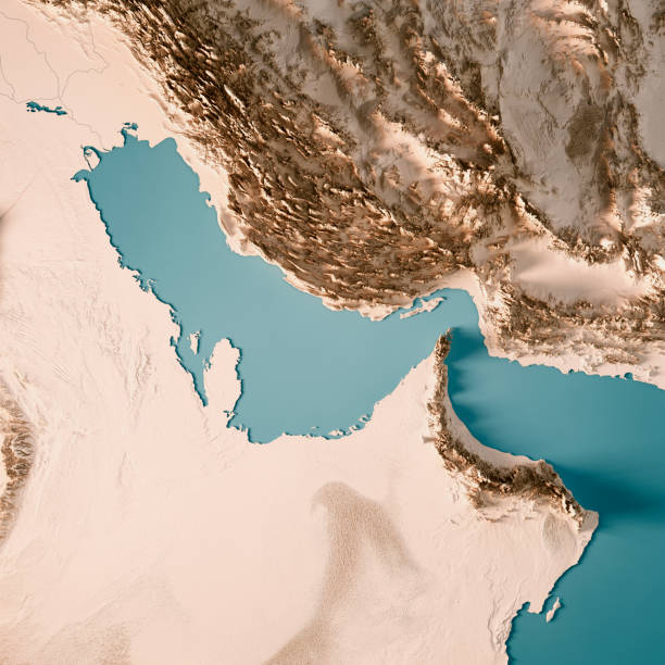 persian gulf 3d render topographic map neutral - saudi arabia map stock photos and pictures