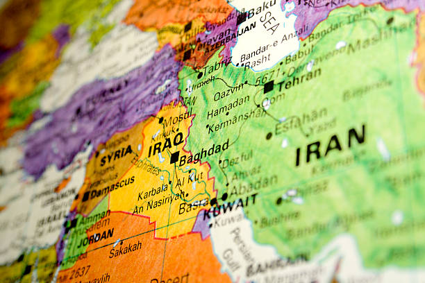 Persian Gulf A photo of a map of Iraq and Iran. iran stock pictures, royalty-free photos & images