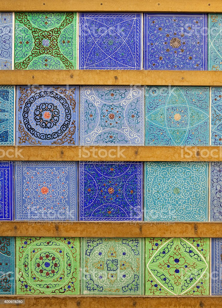 Persian Islamic Motifs and Patterns on Handmade Tiles from Isfahan foto royalty-free