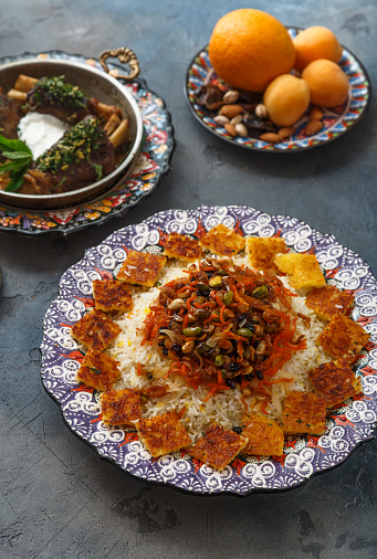 istock Persian jewelled rice with lamb, orange and apricots 932448554