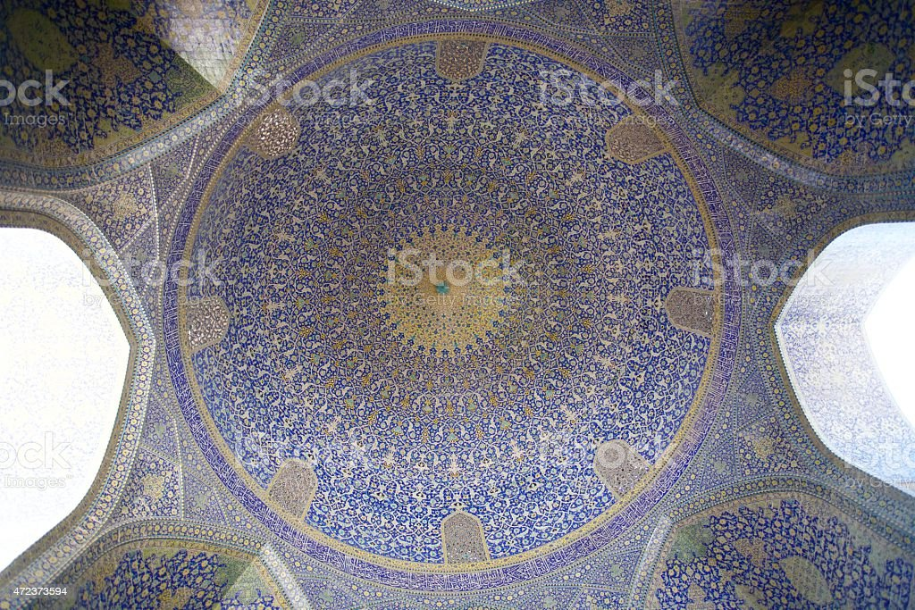 Persian Motif on Blue Tiles of a Mosque stock photo