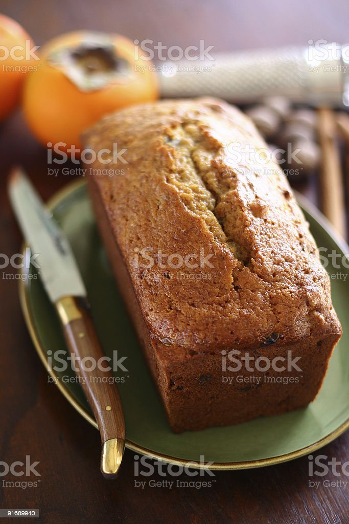 persimmon cake loaf royalty-free stock photo