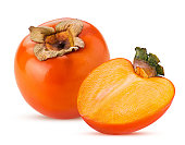 istock Persimmon fruit and one cut in half 1153425731