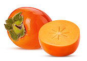 istock Persimmon fruit and one cut in half 1153426330