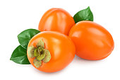 istock Persimmon fruit with leaves isolated on white background close-up 1162114782