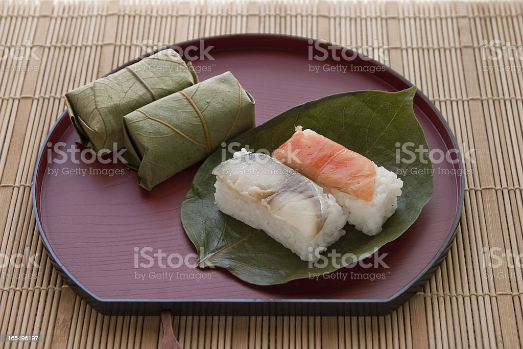 Persimmon leaf sushi royalty-free stock photo