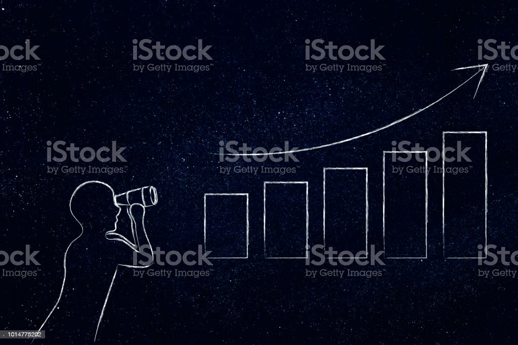 person analysing business growth graph stock photo