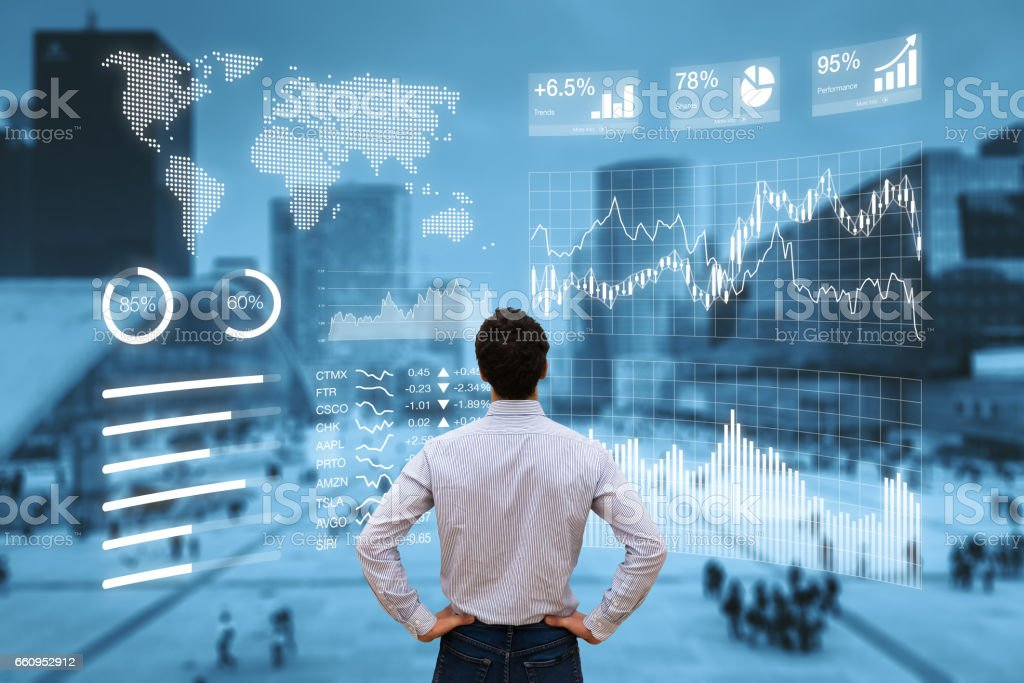 Person analyzing financial dashboard with KPI and business district background royalty-free stock photo