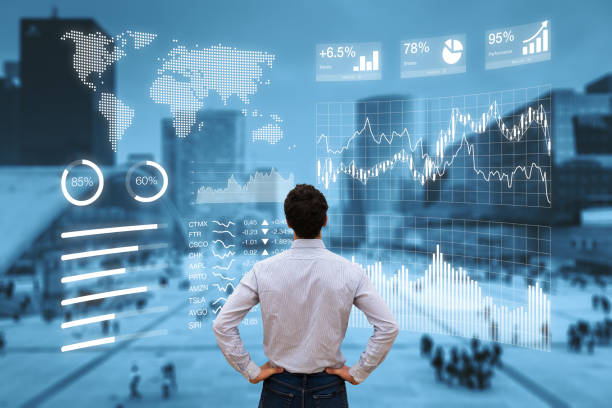 Person analyzing financial dashboard with KPI and business district background stock photo