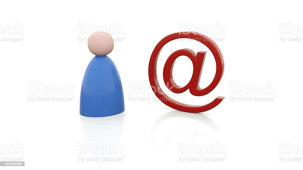 Person and e-mail sign stock photo