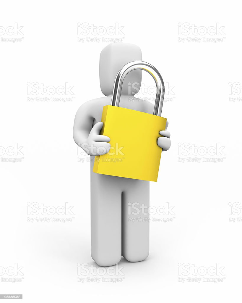 Person and lock royalty-free stock photo