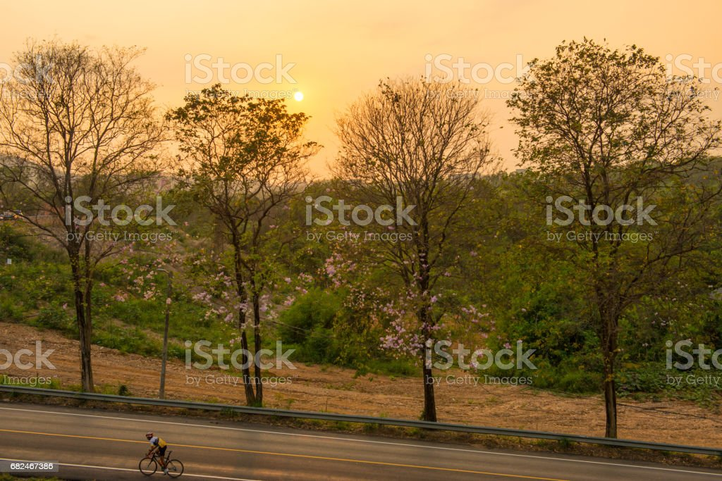 person are cycling in the morning Стоковые фото Стоковая фотография